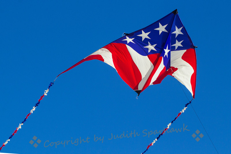 Stars & Stripes Kite ~ One of many kites flying at the kite festival today at Huntington Beach, CA.