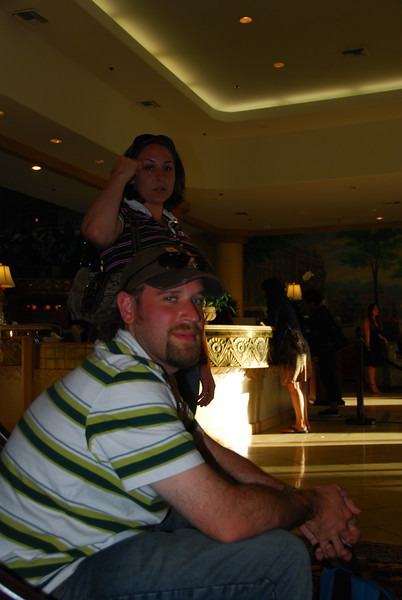 John and Megan in the lobby of the Embassy Suites.