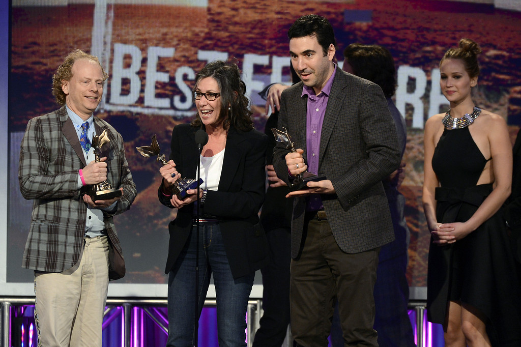 . SANTA MONICA, CA - FEBRUARY 23:   (L-R) Producers Bruce Cohen, Donna Gigliotti and Jonathan Gordon and actress Jennifer Lawrence accept the Best Feature award for \'Silver Linings Playbook\' onstage during the 2013 Film Independent Spirit Awards at Santa Monica Beach on February 23, 2013 in Santa Monica, California.  (Photo by Kevork Djansezian/Getty Images)