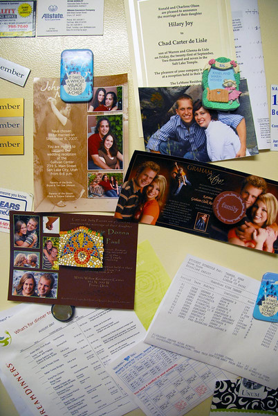 9/17/07 – This is our fridge door with all kinds of things stuck on it with magnets. Of the four wedding announcements, two are Jessica's best friends. They are the two on the right. It is a little weird for her that her friends are starting to get married.