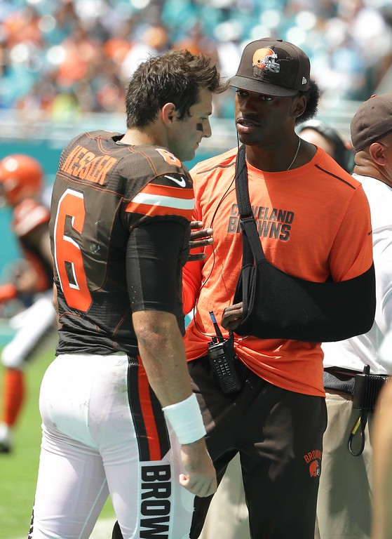 . Associated Press file Cleveland Browns Robert Griffin III, right, speaks to quarterback Cody Kessler (6) on the sidelines during the first half of an NFL football game against the Miami Dolphins, Sunday, Sept. 25, 2016, in Miami Gardens, Fla.