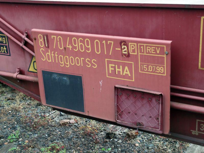 Eurospine Number Panel 81704969017-2 Millerhill Yard  31/07/10.