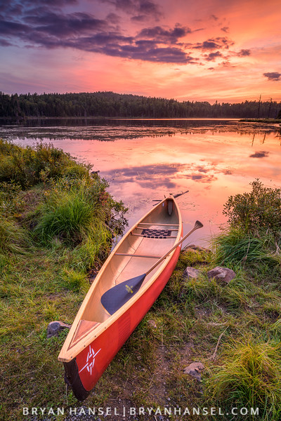 A Red Canoe and Red Sunset Are a Paddler's Delight