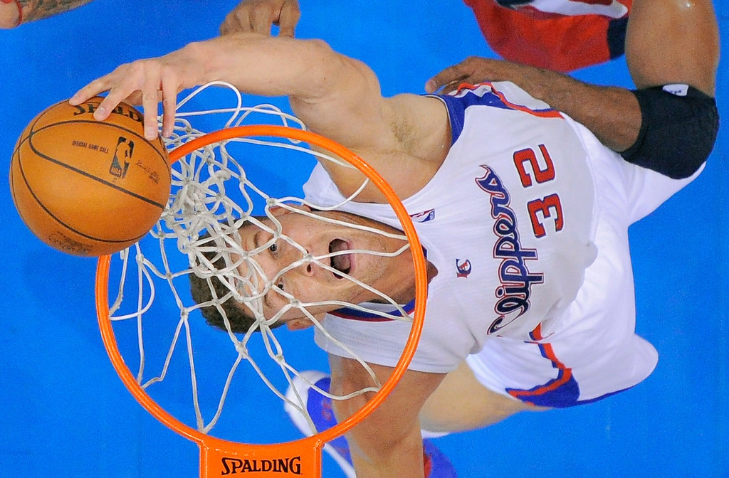 . Los Angeles Clippers forward Blake Griffin puts up a shot during the first half of their NBA basketball game against the Washington Wizards, Saturday, Jan. 19, 2013, in Los Angeles. (AP Photo/Mark J. Terrill)