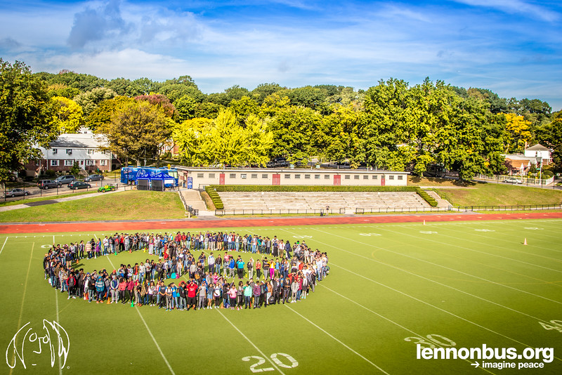 2016_10_13, Human Peace Sign, Martin Van Buren High School, New York, NY, Peace sign, Queens