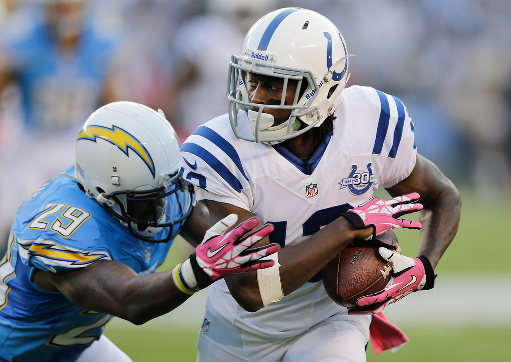 . Indianapolis Colts wide receiver T.Y. Hilton, right, protects the ball as he runs upfield after a reception as San Diego Chargers cornerback Shareece Wright, left, defends during the first half of an NFL football game Monday, Oct. 14, 2013, in San Diego. (AP Photo/Lenny Ignelzi)