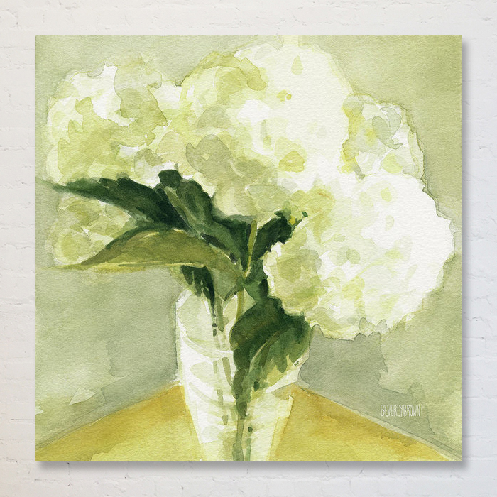 White Hydrangea watercolor cottage style light spring green and yellow canvas wall art - Beverly Brown