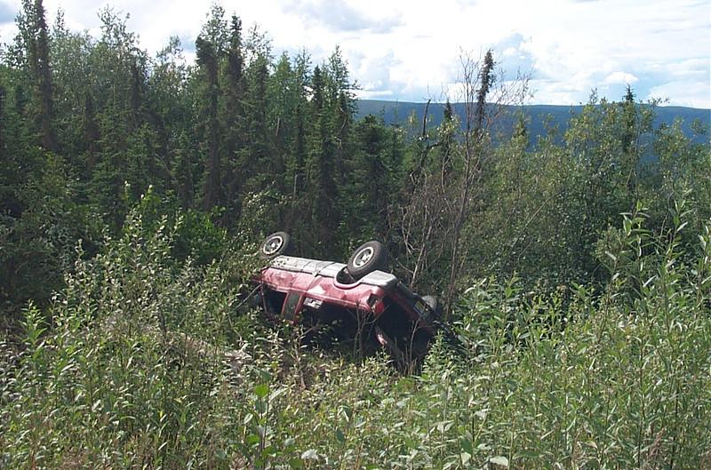 Overturned pickup truck