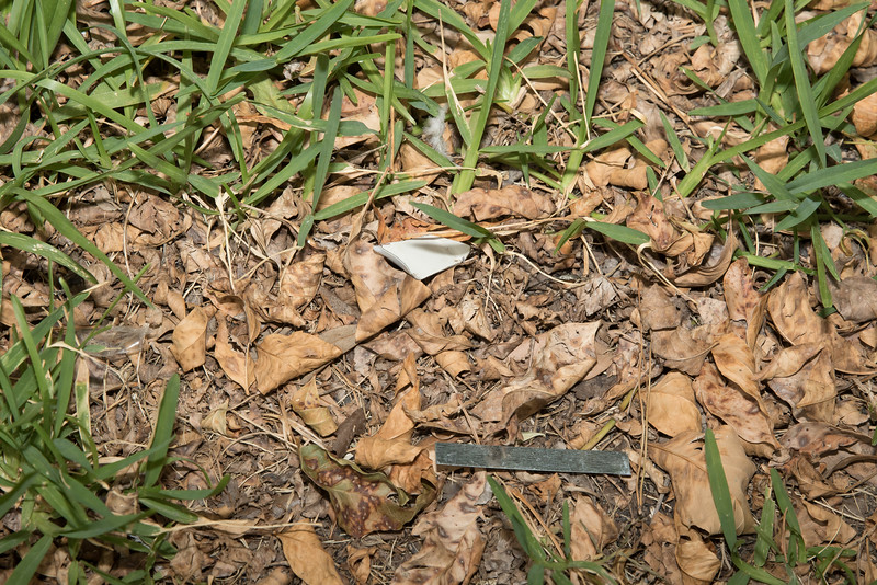 Metal shards left in yards in grass