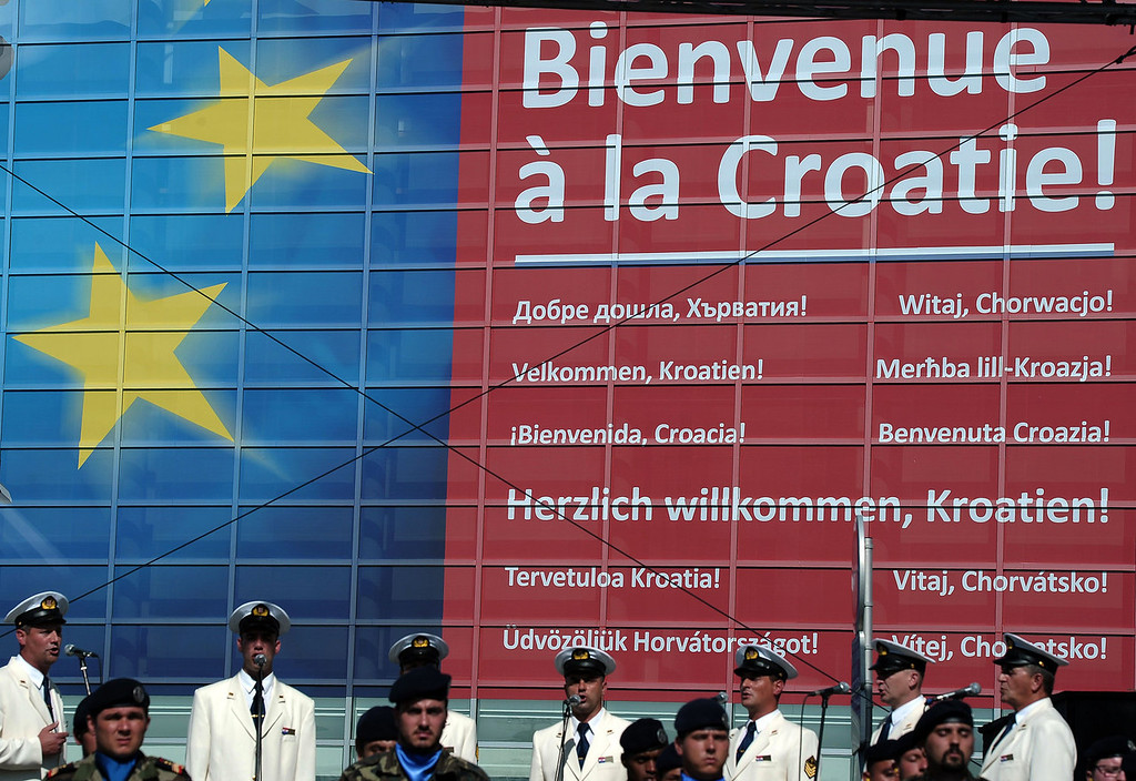 . A welcome text is seen on a board, written in several languages, during a ceremony for Croatia\'s accession to the European Union on July 1, 2013, in the European Parliament in Strasbourg eastern France.  FREDERICK FLORIN/AFP/Getty Images