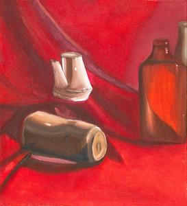 """Creamer & Bottles"" (oil on canvas) by David Fleshman"