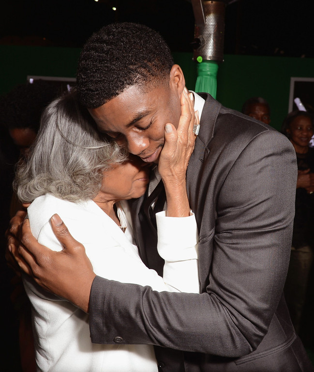 """. Widow of baseball player Jackie Robinson, Rachel Robinson (L) and actor Chadwick Boseman attend the after party for the Los Angeles premiere of Warner Bros. Pictures\' and Legendary Pictures\' \""""42\"""" on April 9, 2013 in Hollywood, California.  (Photo by Kevin Winter/Getty Images)"""