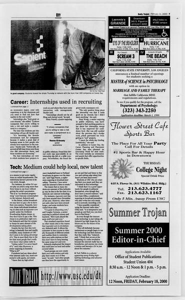 Daily Trojan, Vol. 139, No. 22, February 11, 2000