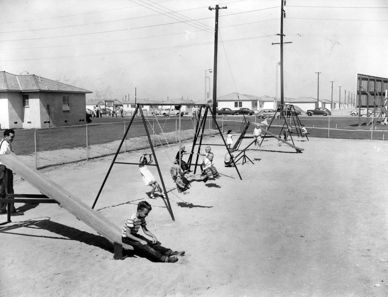 Playground outside the Lakewood Park sales office, 1951
