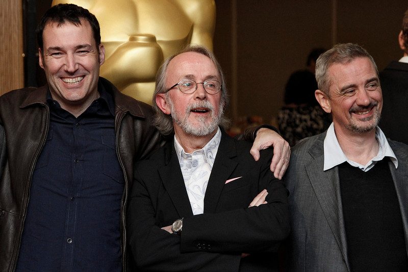 . Animated Feature Film nominees and directors (L-R) Mark Andrews, Peter Lord, and Sam Fell pose for photographers at Oscar Celebrates: Animated Features, featuring this year\'s Oscar-nominated Animated Feature Films category at the Academy of Motion Picture Arts and Sciences in Beverly Hills, California, February 21, 2013. REUTERS/Jonathan Alcorn