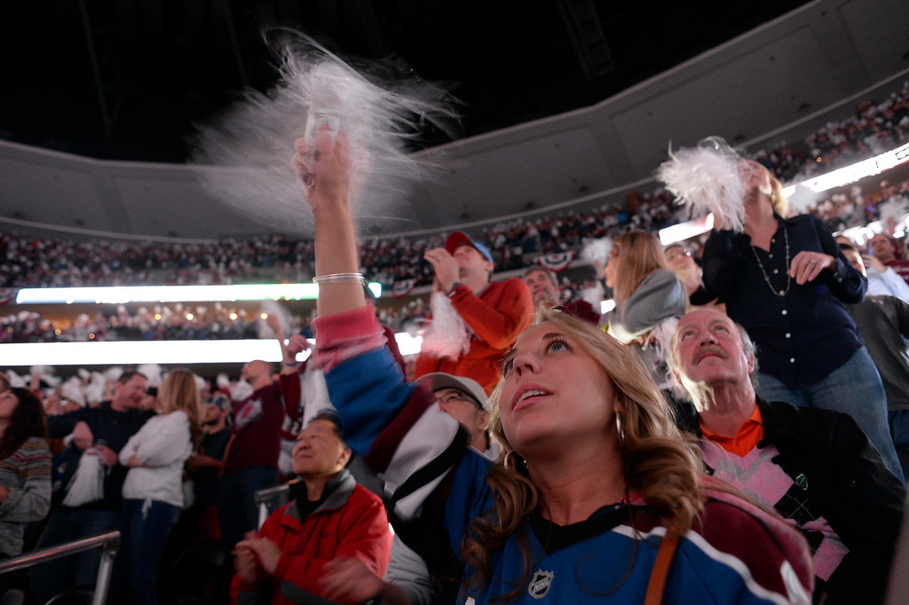 . DENVER, CO - APRIL 26: Erin Hastings, age 27, cheers on the Avalanche during pre-game. The Colorado Avalanche hosted the Minnesota Wild in the fifth round of the Stanley Cup Playoffs at the Pepsi Center in Denver, Colorado on Saturday, April 26, 2014. (Photo by John Leyba/The Denver Post)