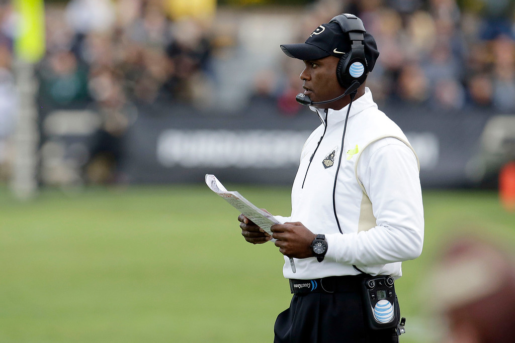 . Purdue head coach Darrell Hazell watches from the sidelines while playing Michigan State during the second half of an NCAA college football game in West Lafayette, Ind., Saturday, Oct. 11, 2014. Michigan State won 45-31. (AP Photo/AJ Mast)