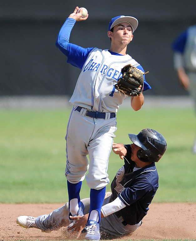 . Charter Oak\'s Nick Glick (1) forces out Duarte\'s Pablo Lopez (C) at second base in the sixth inning of the Championship game of the Gladstone Baseball Tournament at Gladstone High School on Wednesday, April 3, 2013 in Covina, Calif. Charter Oak won 5-3. (Keith Birmingham Pasadena Star-News)