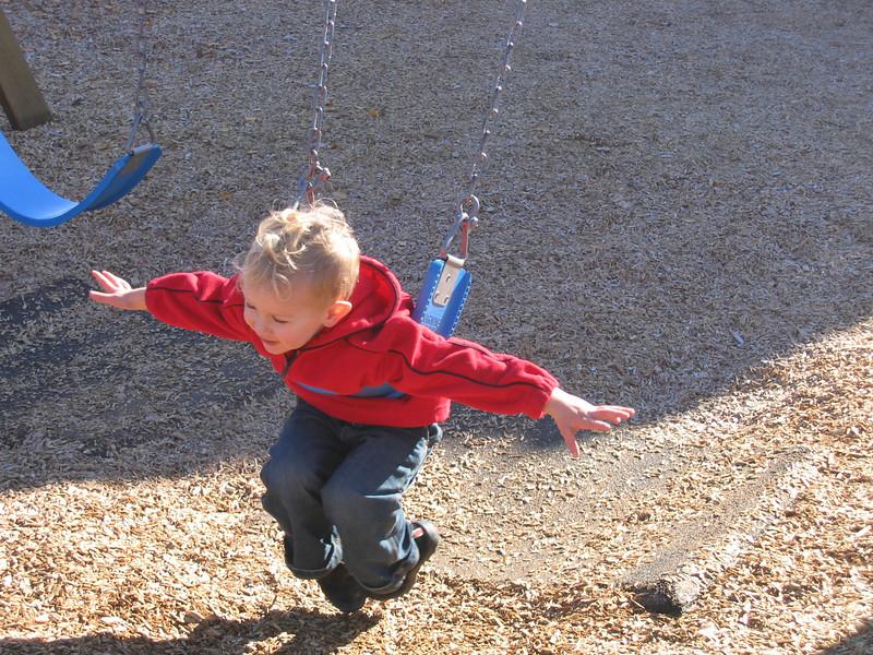 Liam working off the sugar buzz.