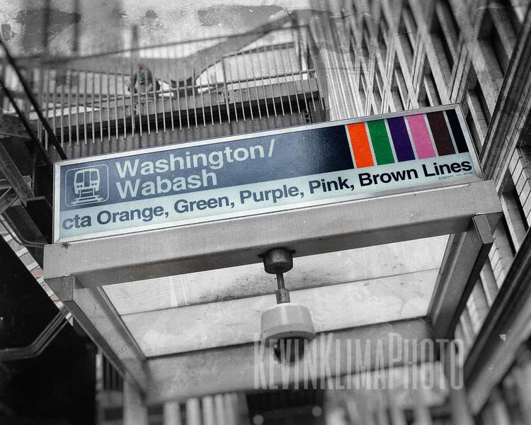 Washington / Wabash - CTA Orange, Purple, Pink, Brown Lines