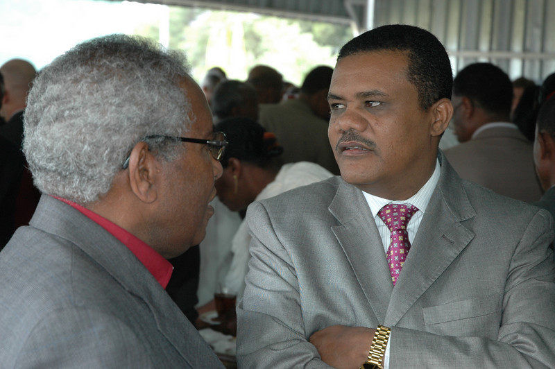 EECMY President, the Rev. Itafa Gobena, left, speaks with Ato Degefe Bula, speaker, House of Federation, Federal Democratic Republic of Ethiopia, at the Jan. 17 celebration.