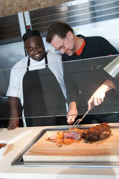 Elvis Threadgill and head chef Kurt Fleischfresser at Vast atop the Devon Energy tower in Oklahoma CIty.