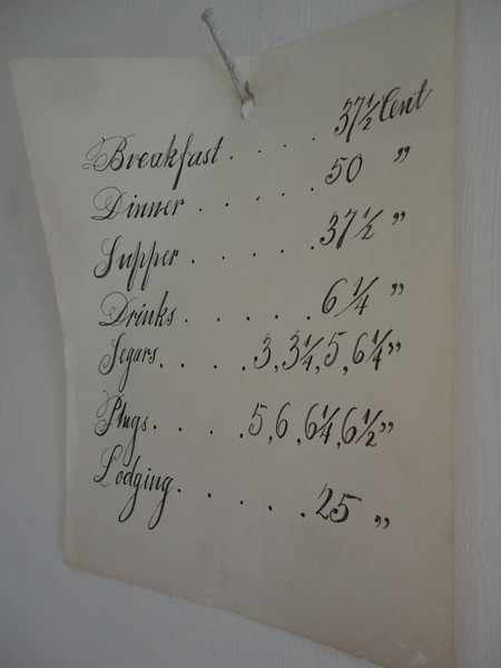 The bill of fare at the Tavern.