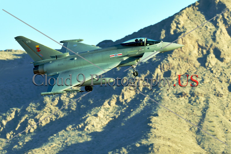 Eurofighter Typhoon-British RAF 0004 A British RAF Eurofighter Typhoon jet fighter, ZK376, landing at Nellis AFB during a Red Flag exercise in 2020, military airplane picture by Peter J. Mancus     852_7560     DONEwt.JPG