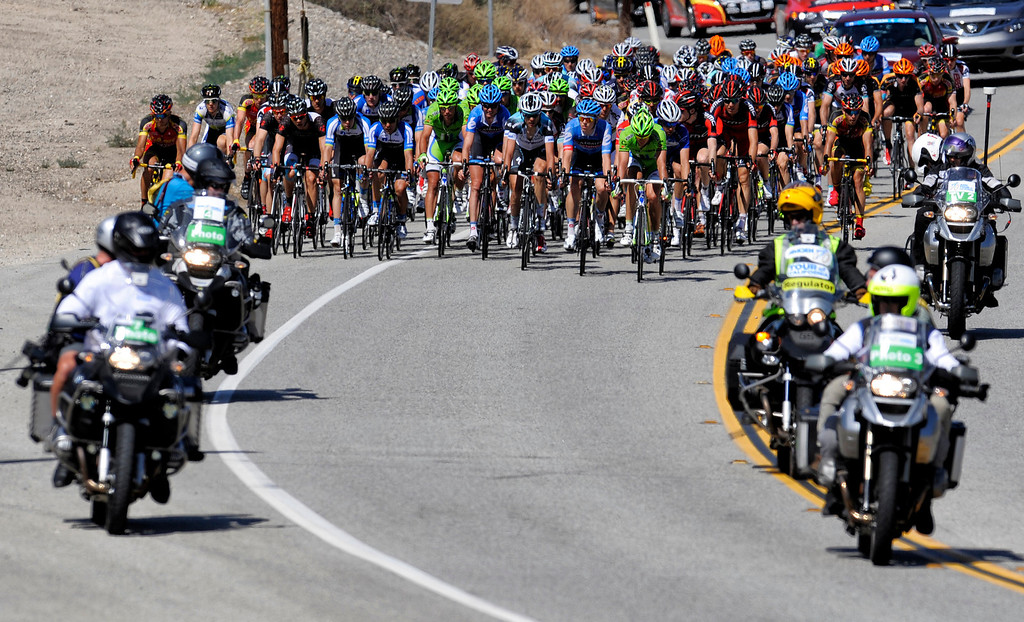 . Competitors make their way along Bouquet Canyon Rd in Santa Clarita  during Stage 3 from Palmdale to Santa Clarita of the Amgen Tour of California bicycle race Tuesday, May 14, 2013. (Hans Gutknecht/Los Angeles Daily News)
