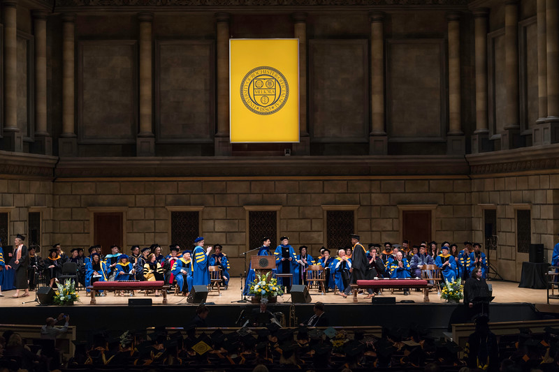 Graduates cross the stage to receive their diplomas. // University of Rochester School of Nursing Commencement, Kodak Hall at Eastman Theatre May 17, 2019.  // photo by J. Adam Fenster / University of Rochester