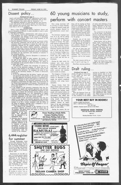 Summer Trojan, Vol. 62, No. 2, June 19, 1970