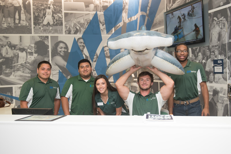 The University Center staff gather for shark week!