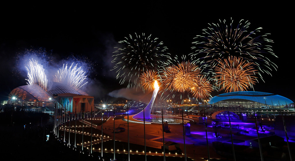 . Fireworks are seen over the Olympic Park during the opening ceremony of the 2014 Winter Olympics in Sochi, Russia, Friday, Feb. 7, 2014. (AP Photo/Julio Cortez, File)