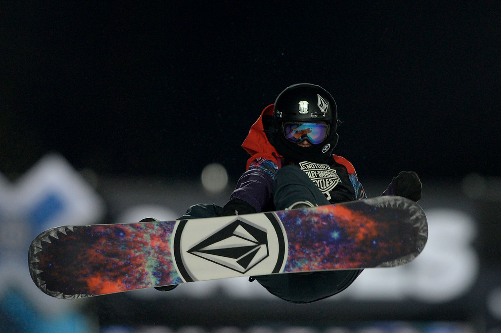 . Elena Hight grabs during the women\'s snowboard half pipe final. Winter X Games on Saturday, January 24, 2015. (Photo by AAron Ontiveroz/The Denver Post)