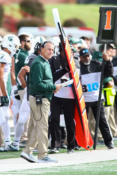 Coach Dantonio prowls the sidelines