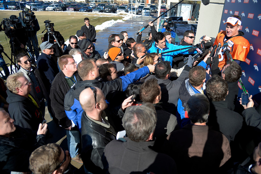 . Denver Broncos quarterback Peyton Manning (18) meets with the media after practice January 23, 2014 at Dove Valley.   (Photo by John Leyba/The Denver Post)