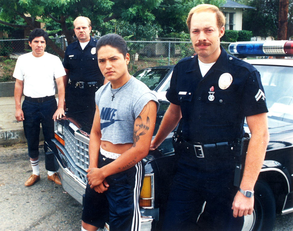 . From left, Octavio Ramos, Officer Dave Strandgren, Ramon Martinez and Officer Cary Ricard played roles in Richard Ramirez\'s capture.  (Daily News file photo)