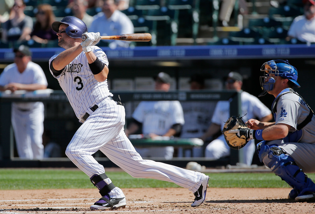 . DENVER, CO - SEPTEMBER 17:  Michael Cuddyer #3 of the Colorado Rockies hits a ground rule double off of Carlos Frias #77 of the Los Angeles Dodgers in the first inning at Coors Field on September 17, 2014 in Denver, Colorado.  (Photo by Doug Pensinger/Getty Images)