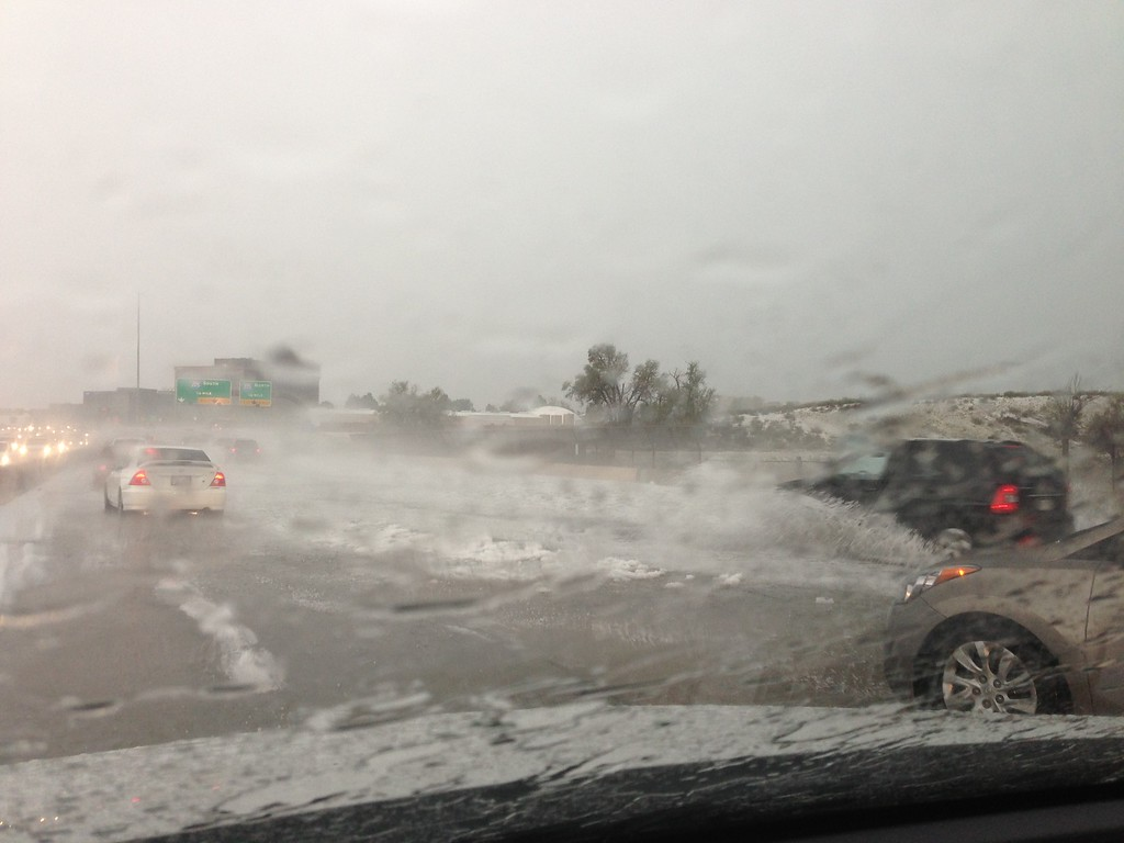 . Storm and flooding on I225 in Aurora. Photo by Tish