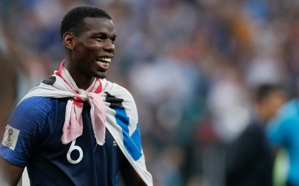 . France\'s Paul Pogba celebrates at the end of the final match between France and Croatia at the 2018 soccer World Cup in the Luzhniki Stadium in Moscow, Russia, Sunday, July 15, 2018. France won 4-2. (AP Photo/Petr David Josek)