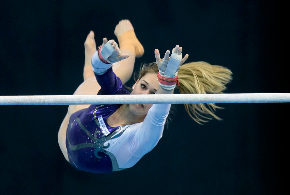 . Giulia Steingruber of Switzerland performs on the uneven bars at the women\'s All-Around Final of the Artistic Gymnastics European Championships in Moscow, Russia, Friday, April 19, 2013. (AP Photo/Mikhail Metzel)