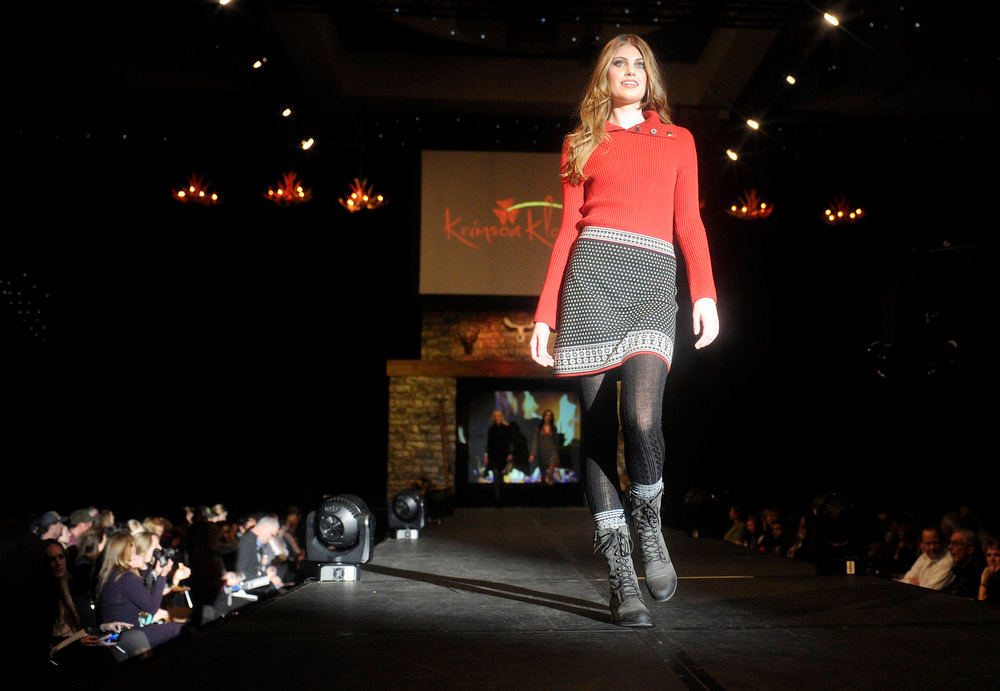 Description of . Krimson Klover ruby twist knit top and petrina skirt , as the SIA Snow Show hosted its 2013 Snow Fashion & Trends Show at the Colorado Convention Center  in downtown Denver  on Wednesday, January 30, 2013.  (Photo By Cyrus McCrimmon / The Denver Post)