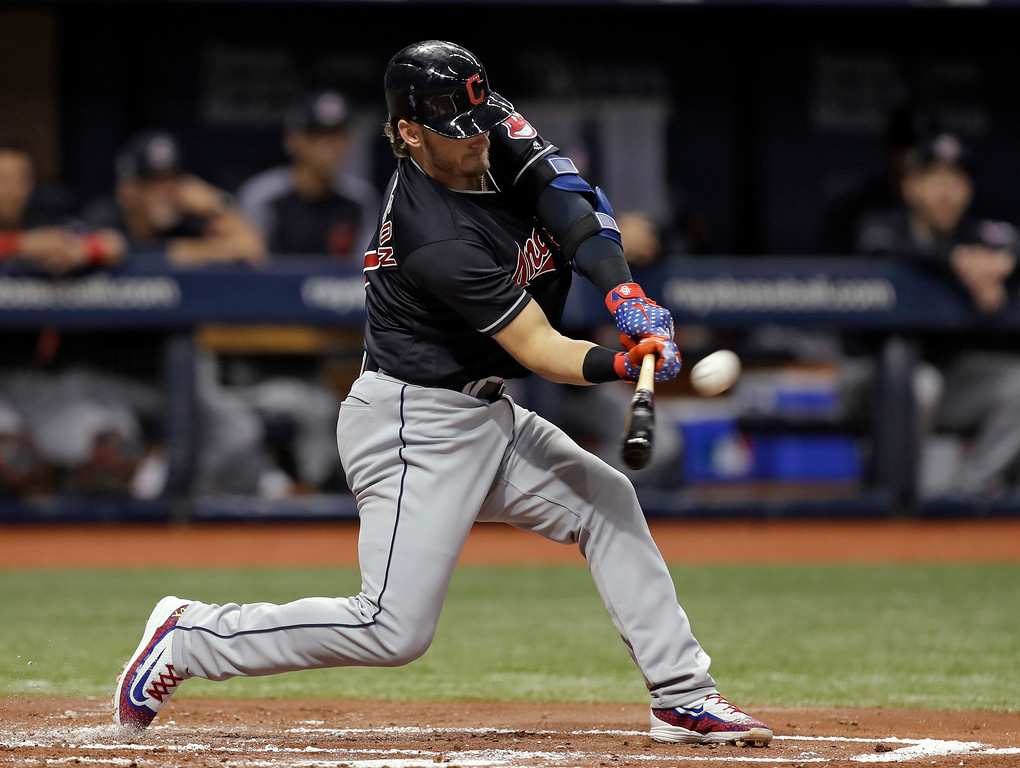 . Cleveland Indians\' Josh Donaldson flies out against Tampa Bay Rays pitcher Tyler Glasnow in his Indians\' debut during the first inning of a baseball game Tuesday, Sept. 11, 2018, in St. Petersburg, Fla. (AP Photo/Chris O\'Meara)