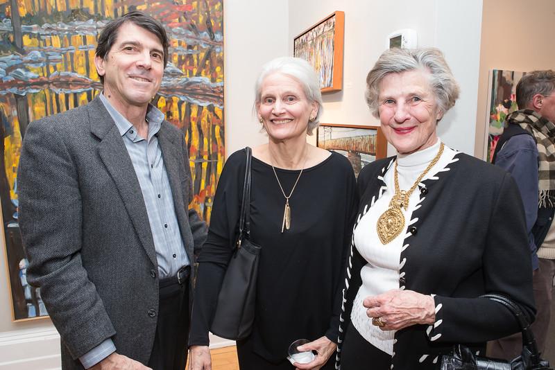 Mark Borthwick, Becky Lescaze, Paddy Katzen. Photo by Alfredo Flores. Opening Reception for Edward Bear Miller Exhibit. Foundry Gala. January 4, 2013.