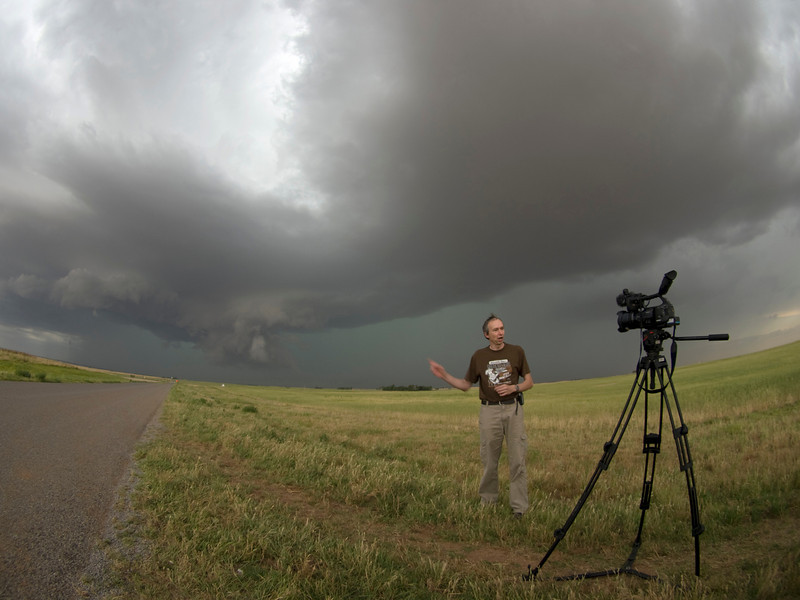 Al doing his narrating bit in front of a nice wall cloud/supercell.