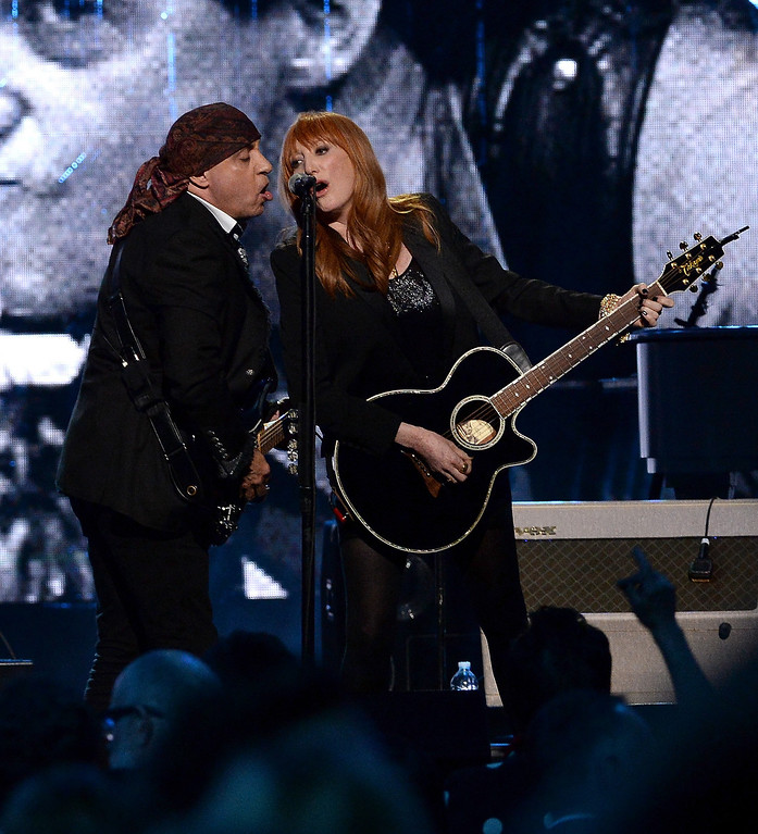 . Inductees Steven Van Zandt (L) and Patti Scialfa of the E Street Band perform onstage at the 29th Annual Rock And Roll Hall Of Fame Induction Ceremony at Barclays Center of Brooklyn on April 10, 2014 in New York City.  (Photo by Larry Busacca/Getty Images)