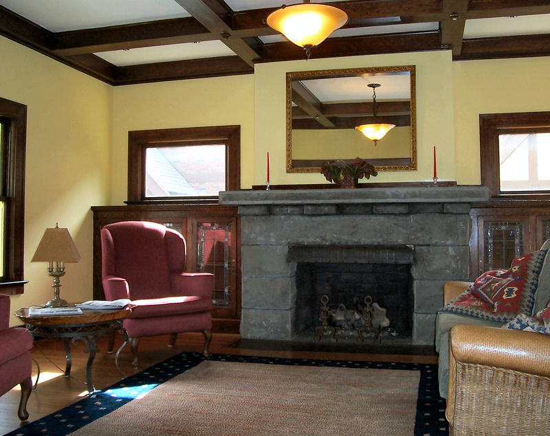 The living room has been furnished as a waiting area for guests of the organization.