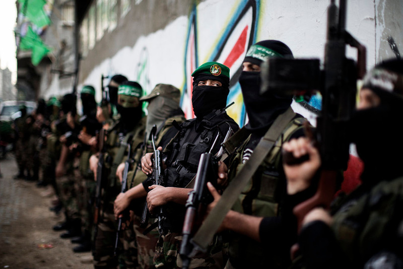 . Gunmen from  the Ezzedine al-Qassam Brigades, the armed wing of Hamas, line up outside the house of their late leader Ahmed Jaabari, after mourners finished visiting his family to pay their condolences in Gaza City on November 22, 2012. Israeli politicians returned to the campaign trail as the streets of Gaza came back to life after a truce ended eight days of bloodshed, with both sides claiming victory while remaining wary. MARCO LONGARI/AFP/Getty Images