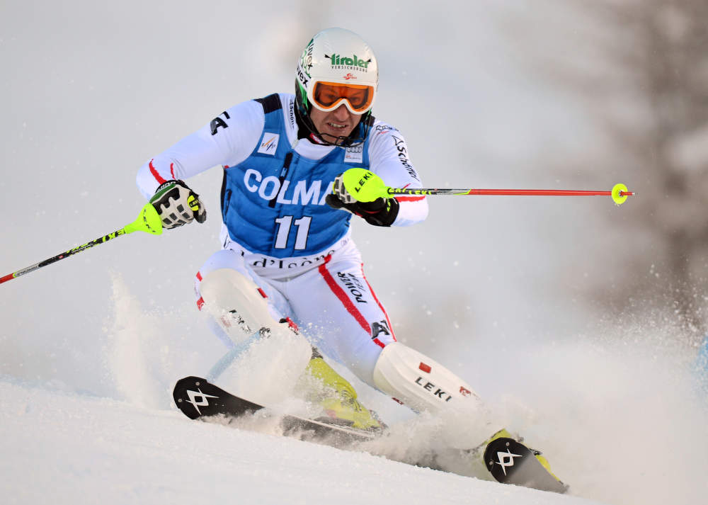 Description of . Austria's Manfred Pranger competes in the first run of FIS World Cup men's slalom on December 8, 2012 in Val d'Isere, French Alps.     AFP PHOTO/PHILIPPE DESMAZES/AFP/Getty Images