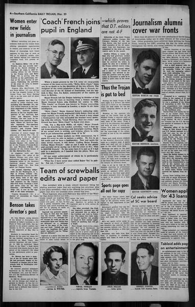 Daily Trojan, Vol. 34, No. 108A, March 20, 1943